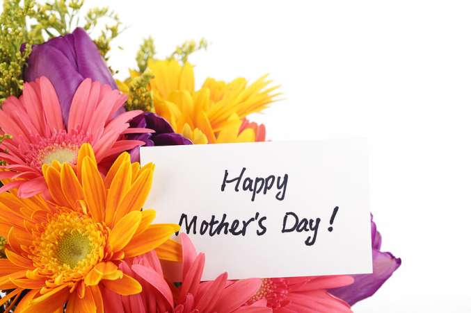 Mothers Day gift, flower bouquet and card for Mom