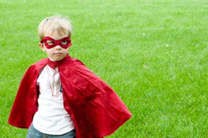 Child, Boy dressed up as a superhero