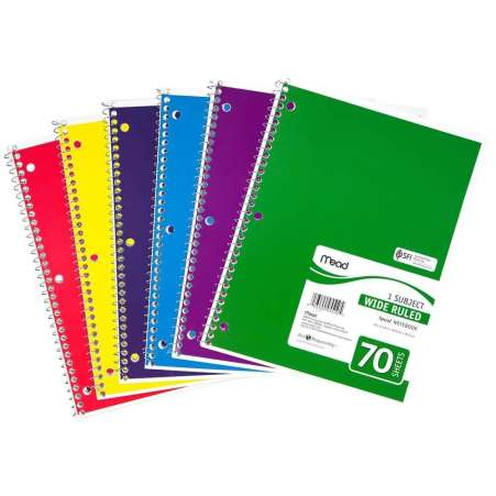 Mead One Subject Spiral Bound Notebook