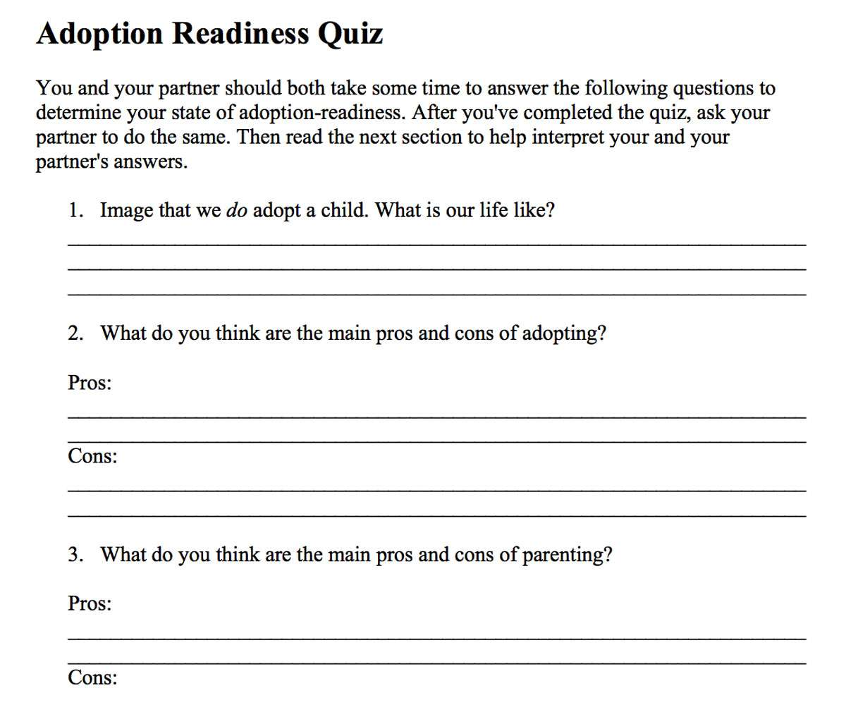image about Parenting Style Quiz Printable known as Scheduling for Adoption, What in direction of Do Right before By yourself Undertake a Boy or girl