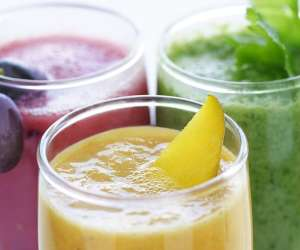Close up of three smoothies