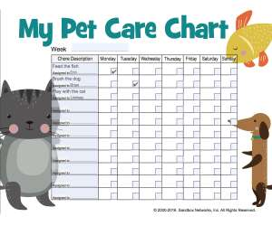 Printable Pet Care Chart for Kids
