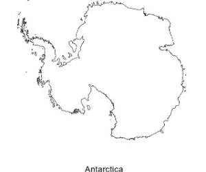 Blank Black and White Map of Antarctica