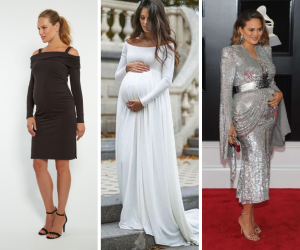 collage of holiday maternity dresses