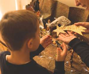 mom teaching son about interfaith holidays