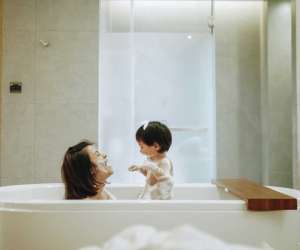 Mom and baby at bath time