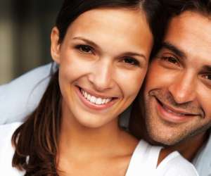 Close up of attractive couple smiling